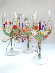 Wine Glasses -- Hand Painted Wine Glasses, Keepsake, Gift Idea, Bridesmaid Gift…
