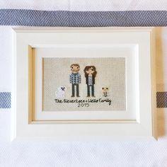 Cross stitch portrait - second anniversary gift ideas