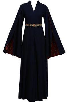 Blue embroidered sharara style jumpsuit available only at Pernia's Pop Up Shop.
