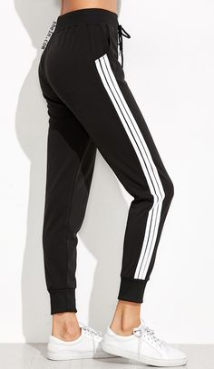 Sweat sport pant for fall. Midi waist & black striped side. Cute pant!