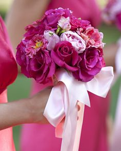 "See the ""Pink Bridesmaid Bouquet"" in our Real Weddings with Pink Ideas gallery Magenta Wedding, Purple Wedding Bouquets, Diy Wedding Bouquet, Pink Bouquet, Wedding Flowers, Bridemaids Flowers, Bridesmaid Bouquets, Flower Bouquets, Bride Bouquets"