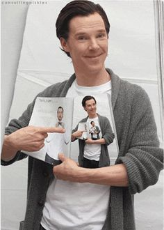 They heard you like Benedict Cumberbatch. So they put up a picture of Benedict Cumberbatch holding a magazine with a picture of Benedict Cumberbatch, so you can look at Benedict Cumberbatch while you look at Benedict Cumberbatch. <-- This made me laugh :) Sherlock Fandom, Sherlock Holmes, Moriarty, Tom Hiddleston, Gotham, Detective, Benedict And Martin, Mrs Hudson, Star Trek Into Darkness