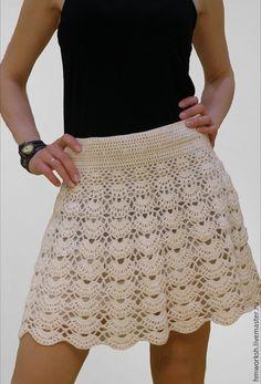 """Купить Белая юбка """"Shell"""" - разноцветный, однотонный, юбка, юбка летняя, юбка крючком"""
