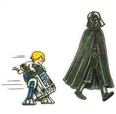 Darth Vader and Son Star Wars Comics, Star Wars Cartoon, Star Wars Humor, Darth Vader And Son, Vader Star Wars, Star Trek, Han And Leia, Favorite Movie Quotes, Star Wars Fan Art