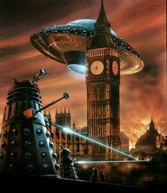 Spectacular cover of the German edition of Doctor Who: Dalek Invasion of Earth novel. Much more exciting than the UK/Australian edition in my opinion. Painted in 1975 by David Hardy London Underground, Union Jack, Star Trek, Classic Doctor Who, Doctor Who Fan Art, Arte Dc Comics, First Doctor, 4th Doctor, Don't Blink
