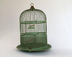 Antique Bird Cage, Shabby Chic Decor, Metal Birdcage, Birdcage Centerpiece, Bird Cage Card Holder, Cottage Decor, Bird Lover's Gift