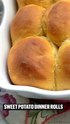 Sweet Potato Rolls, Sweet Potato Dinner, Sweet Potato Bread, Sweet Potato Casserole, Sweet Potato Recipes, Canning Sweet Potatoes, Mashed Sweet Potatoes, Tasty Dishes, Food Dishes