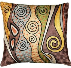 Love the Klimt-inspired design on this pillow.