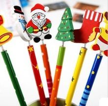 100 unids/lote navidad lápices de madera historieta de la novedad Stationery madera Office & Study lápices regalos navidad de la lámina opel(China (Mainland))
