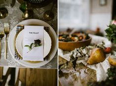 flower plate setting, napkin treatment. Fall and winter table settings. Photography   Our Love Is Loud Style   Laurel + Rose Flowers   Lale Floral Designs Venue   Bread Bar + Dram Apothecary