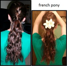 the french pony, french braid the top half of your head then tie it all together.