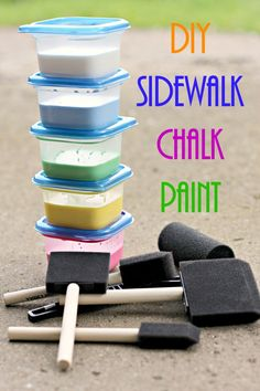 Homemade Sidewalk Chalk Paint - Mom Needs Chocolate Homemade Sidewalk Chalk, Sidewalk Chalk Paint, Homemade Paint, Sidewalk Art, Mason Jars, Diy And Crafts, Crafts For Kids, Chalk Crafts, Kids Diy