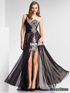 Sheath/Column One Shoulder Floor-length Chiffon|Sequined Evening Dress
