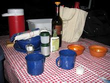 Make grilled polenta cakes.  Recipe to make at home, then slice to take to campsite.