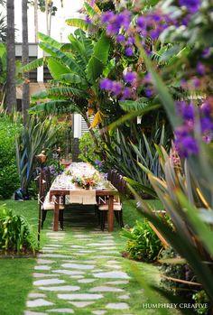 stone & grass patio walkway