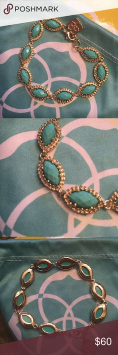 ⭐️Bracelet⭐️ ⭐️Kendra Scott Jana Bracelet in Teal⭐️In great condition⭐️Comes with gift box and dust bag⭐️Please use the offer button⭐️I WILL NOT respond to offers in the comments⭐️🚫No Trades🚫 Kendra Scott Jewelry Bracelets