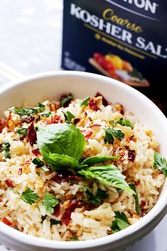 Spicy Thai Rice - One pot, easy and delicious Thai-style spicy rice with toasted peanuts, fresh basil and dried Thai chili.