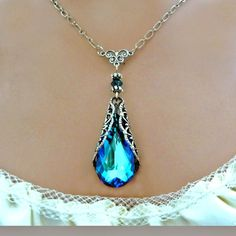 Blue Crystal Necklace Victorian Vintage Style Antique Silver Swarovski With Free Earrings