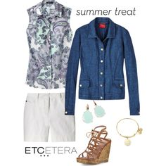 Etcetera | Summer 2016: NAVIGATOR navy linen jean-style jacket with SUMMER blouse and ANGELICA white metallic shorts. www.etcetera.com.