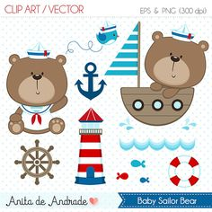 Sailor Bear Digital Clipart Vector - Personal and Commercial Use - Blue and red, Marine Cute navy art - C002