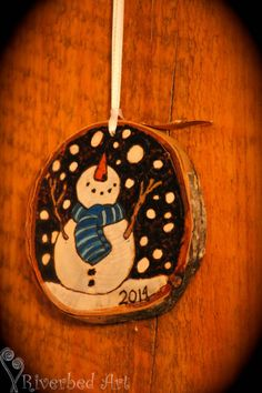 Christmas Pyrography Snowman Ornament by RiverbedART on Etsy, $20.00