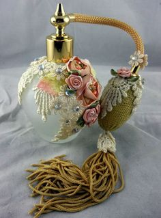 Vintage Perfume Frosted Glass Bottle with Atomizer Laze Flowers Fringe...Wow...what a beautiful perfume bottle!!!