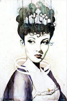 """Saatchi Art Artist Christina Leta Smith """"Queen of the Damned"""" #art #watercolor #defectivebarbie #portrait"""