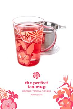 Sip your tea in style in this rose-tinted mug with rainforest-inspired prints. Tea Places, Davids Tea, Perfect Glass, Cute Mugs, My Tea, Junk Drawer, Herbal Tea, Tea Recipes, Water Bottles