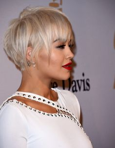 Rita Ora in a glamorous white gown at the Annual Clive Davis Pre-Grammys Gala in Beverly Hills - Ann Marie Murphy - Short Blonde Pixie, Short Pixie Haircuts, Short Haircut, Pixie Hairstyles, Short Hairstyles For Women, Bandana Hairstyles, Long Pixie, Party Hairstyles, Long Bob