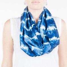 infinity Indigo silk scarf / sky blue infinity by CeliaEtcetera