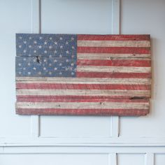 24e American Flag- Made out of 150 year old Chestnut that was cut from hand hewn beam boards.