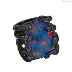 #Sterling Silver Pave #Diamond Gemstone Opal Cocktail #Ring Grab It NOW at Lowest price ever..
