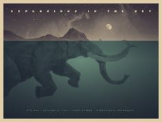 Super rad poster/art print by DKNG. http://www.dkngstudios.com/2011/10/11/explosions-in-the-sky-poster-and-art-print/