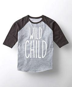 Take a look at this Athletic Heather & Black 'Wild Child' Raglan Tee - Toddler & Kids today!