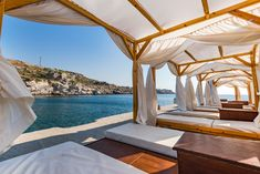 Luxury and Relaxing place at Kalithea Spring Beach, Rhodes,Greec Rhodes Beaches, Relaxing Places, Greece Travel, Outdoor Furniture, Outdoor Decor, Luxury, Spring, Home Decor, Decoration Home