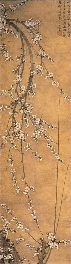 Hanging scroll, cherry blossoms, by ZEKKAI Chushin (1334~1405), Japan.