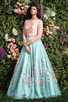 Sky Blue With Baby Pink Color Combination Embroidered Lehenga Designer Bridal Lehenga, Bridal Lehenga Choli, Designer Gowns, Indian Designer Wear, Indian Gowns, Pakistani Dresses, Indian Outfits, Indian Clothes, Lehenga Designs
