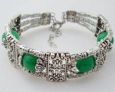 Green Jade Tibet Silver Bracelet