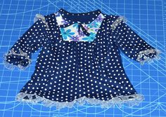 Pattern repeat in navy and white polka dots - Ottobre & & Jersey, Magazine Design, Pocahontas, Polka Dot Top, Navy And White, Sewing, Pattern, Tops, Women