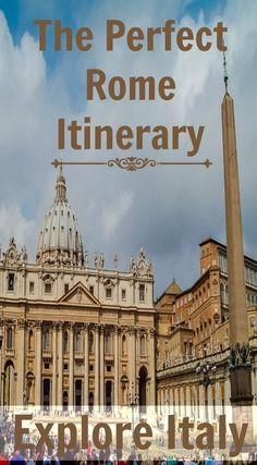 The perfect Rome Itinerary. Beautiful, historic and diverse Rome, there are few other cities in the World that can match the abundance of sights to conquer on a vacation. Read the full travel blog post at http://www.divergenttravelers.com/3-days-in-rome-things-to-do/