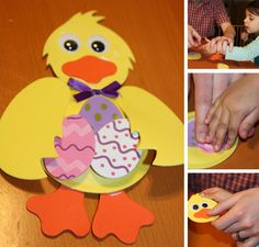 Easter Craft for Toddlers. Chick. Eggs. Easter card.