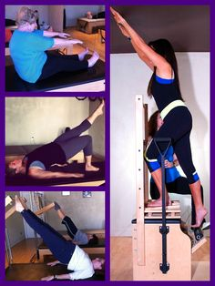 Collage of Any Body's Pilates' clients mid-workout. We believe in high-quality, personalized instruction for Fitness for ANY Body!