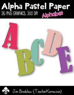 Pastel Alphabet clip art.  There are 26 png graphics created at 300 dpi.  These letters are perfect for your Spring or Summer educational products.  Commercial and personal use ok.  TeacherKarma.com