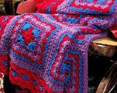 Instant Download PDF  Vintage Knitting Pattern to make amish Print  Afghan Blanket Throw Afghan Blanket Picnic Rug Granny Squares Heirloom