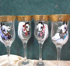 Arabian horse art hand painted wine glasses set of 4  by jaxnancy, $42.00