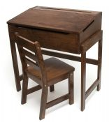 Child's Slanted Top Desk & Chair, Walnut  Fun and practical! Perfect for eager little students to spend their day practicing their ABCs and 123s. Provides a wonderful workspace, all their own. Lift up for a generous storage space for erasers, crayons, coloring books, and other treasures. Beautiful walnut finish complements any decor.