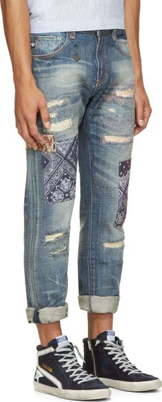 MOSTLY HEARD RARELY SEEN Blue Patched & Distressed Jeans