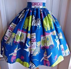 vintage 50s circus novelty print rich jewel color super full skirt animals clown #Handmade #Skirt #Any