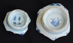 Mudlarking finds,  makers marks, a rarity on the bottom of two Chinese export porcelain tea bowls.