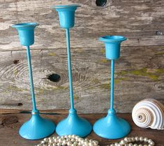 Rustic Chippy Teal Brass Candle Holders Set of by happybdaytome